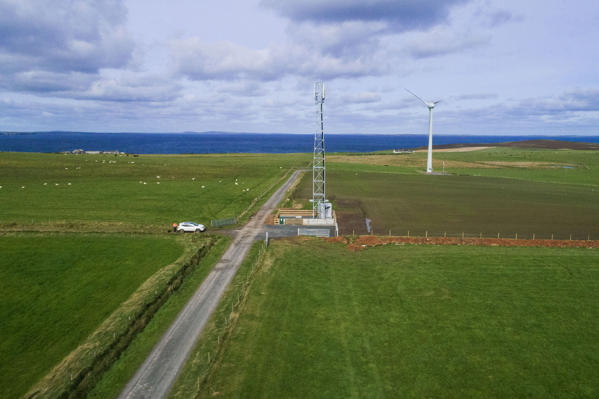 WHP telecoms tower at Upper Stove, Deerness, in the Scottish Orkney islands.